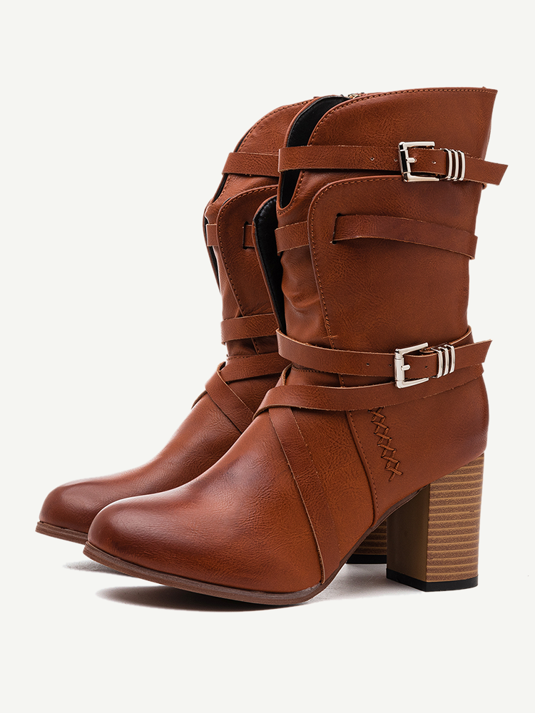 Large Size Women Motorcycle Buckle Strappy Zipper High Heel Middle Boots