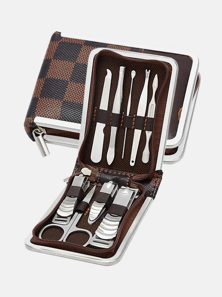 9 Pcs Stainless Steel Nail Clippers Set Portable Travel Manicure Pedicure Grooming Set