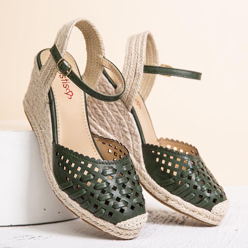 LOSTISY Women Hollow Buckle Strap Wedges Espadrilles Sandals