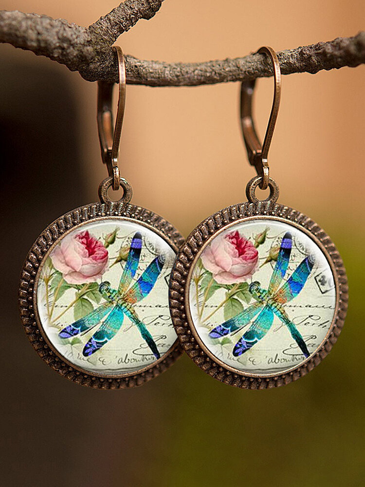 Vintage Glass Gemstone Dangle Earrings Dragonfly Butterfly Pattern Women Pendant Earrings Jewelry