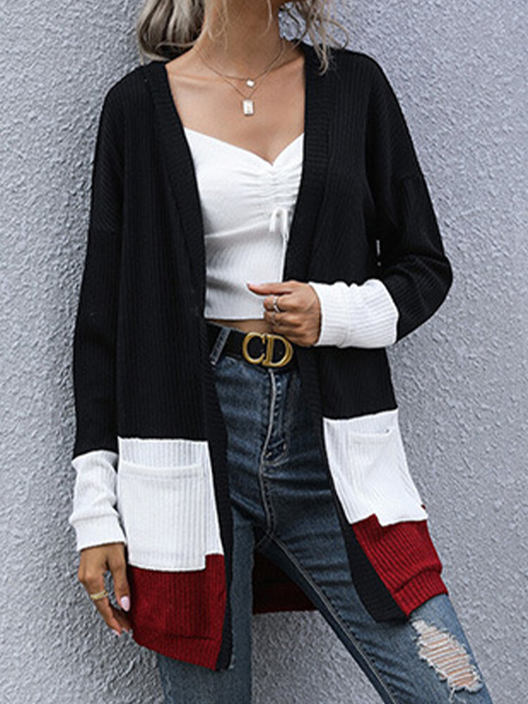 Contrast Color Pockets Long Sleeves Casual Cardigans for Women