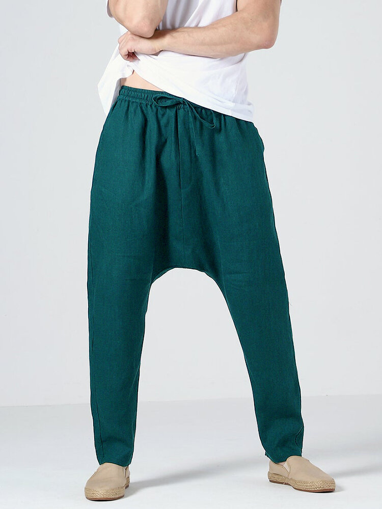 Mens 100% Cotton Solid Color Baggy Casual Drawstring Pants