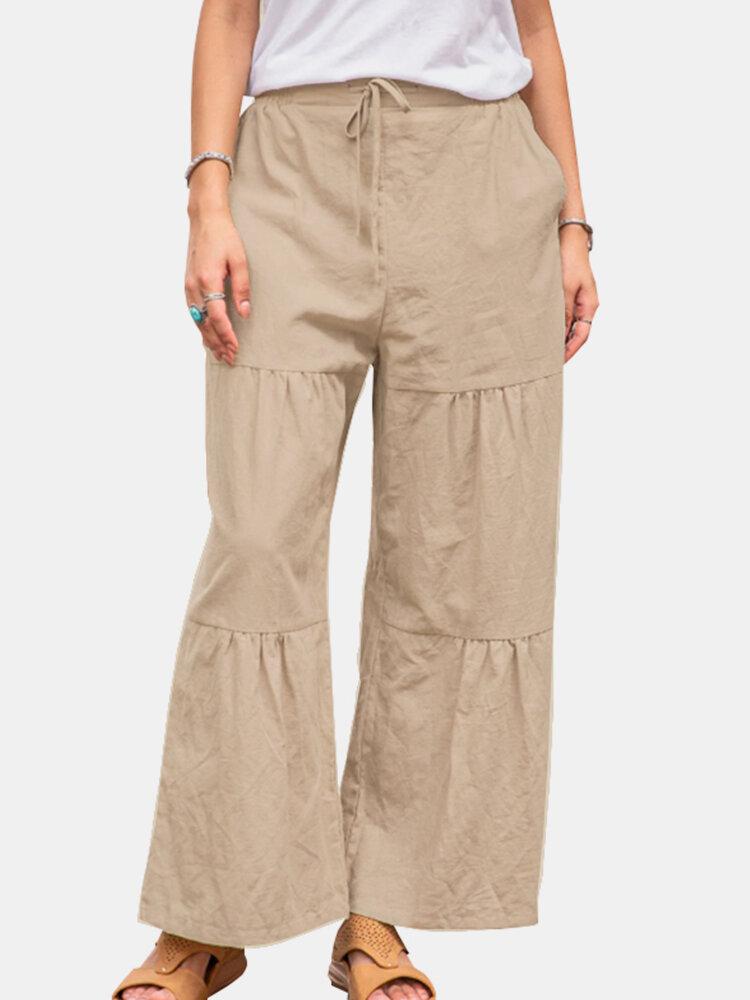 Pantalon en coton superposé décontracté de couleur unie à la taille élastique