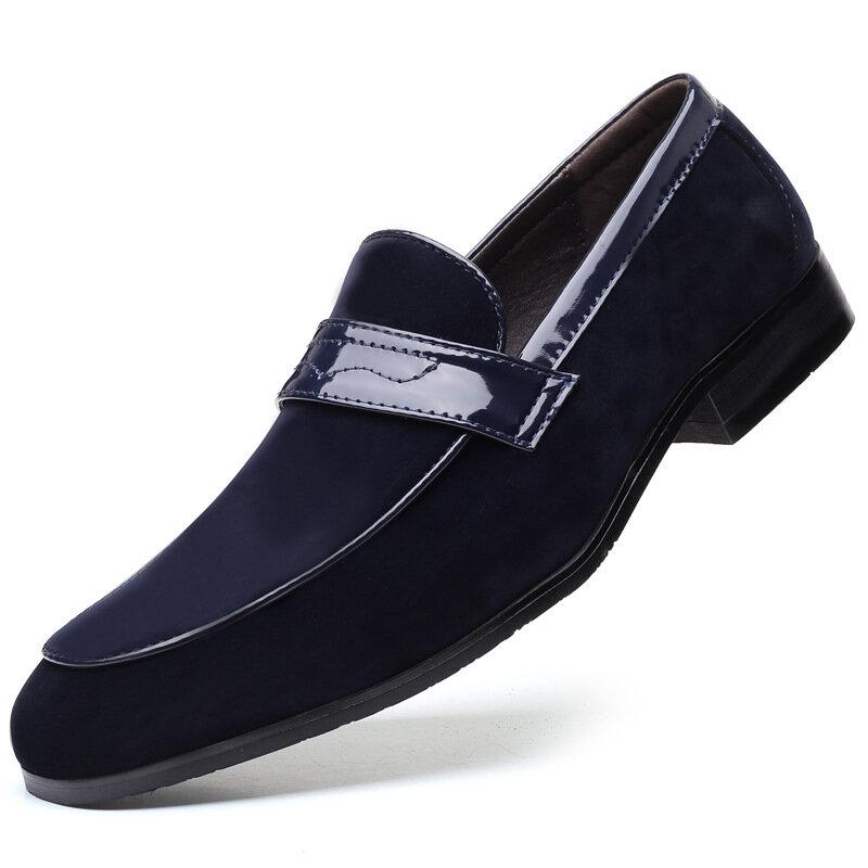 Men Suede Penny Loafers Comfy Slip On Dress Formal Shoes