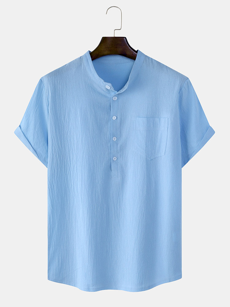 Mens Basics Solid Color Short Sleeve Henley Shirt With Pocket