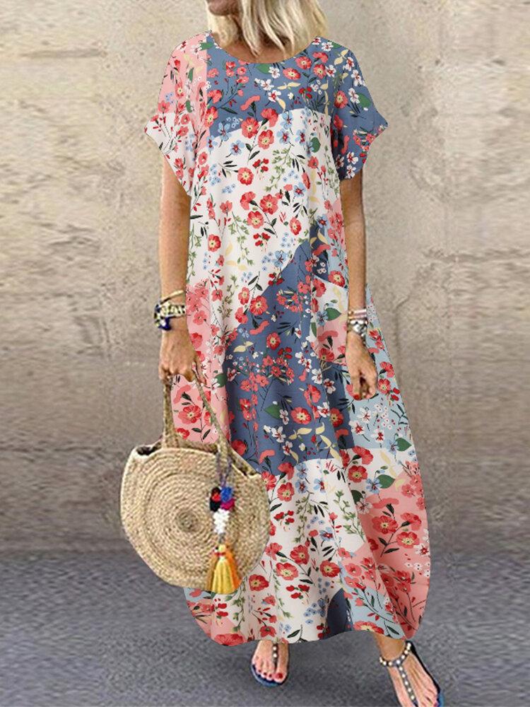 花柄パッチワーク半袖AラインPlusサイズのドレス