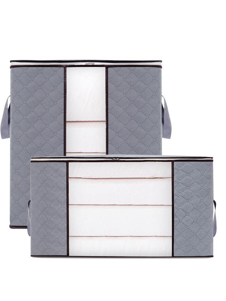 2 piezas de almacenamiento de edredón no tejido Bolsa ropa para el hogar edredón almohada manta de almacenamiento Bolsa transparente grueso resistente al desgaste