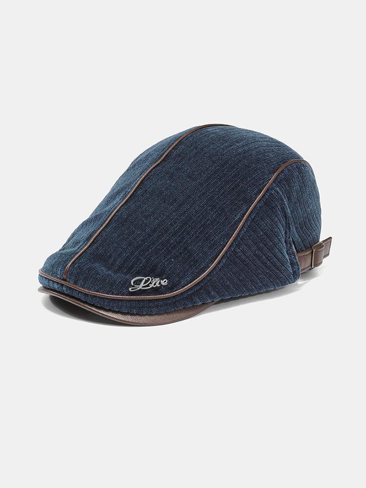 Collrown Men Knit Corduroy Flat Cap Padded Warm Beret Cap Casual Outdoor Visor Forward Hat