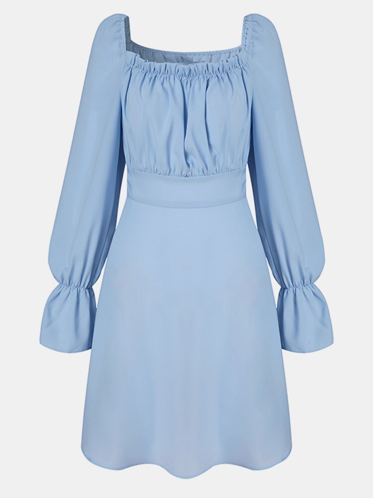 Solid Color Pleated Square Collar Long Sleeve Casual Dress for Women