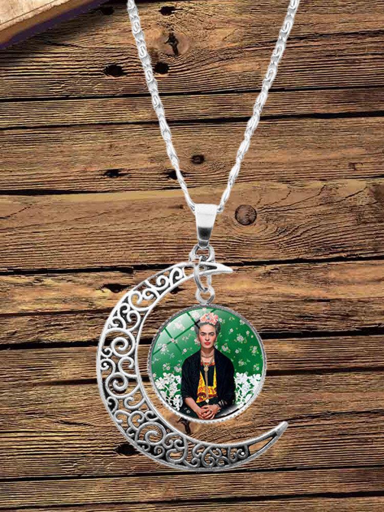 3 Pcs Printed Men Women Jewelry Set Wearing Garland Hollow Half Moon Necklace Bracelet Earring