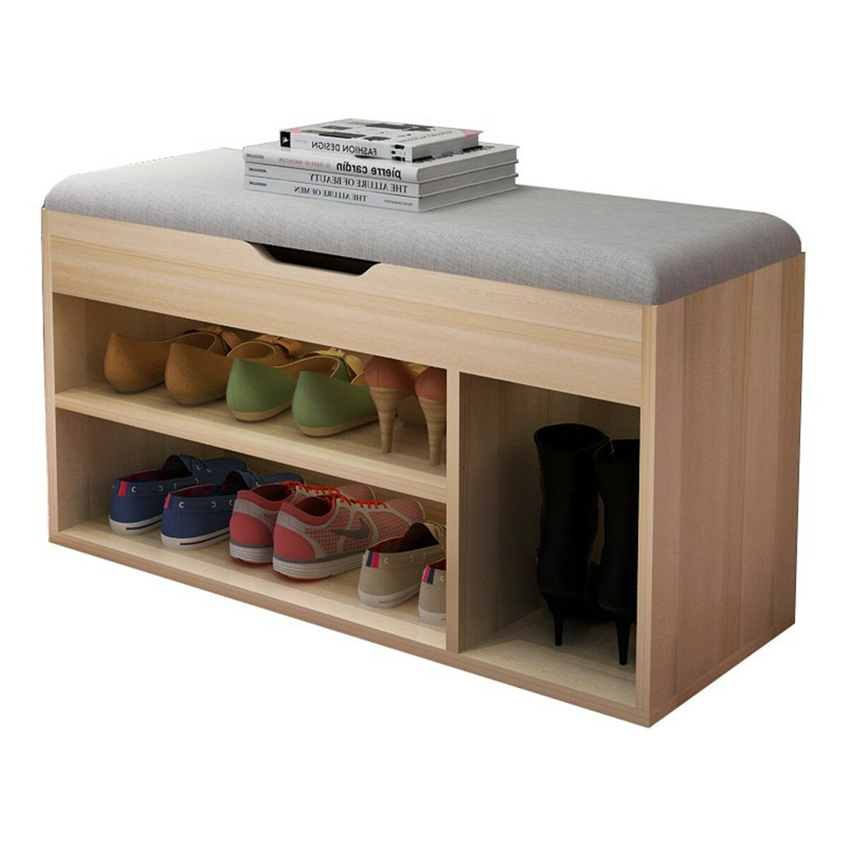 <US Instock> Shoe Rack Shoe Storage Stool with Flip Cover, Entryway Shoe Bench Rack Shoes Organizer with Sponge Cushion Seat - Suitable for Foyer, Living Room, Bedroom, 31.5 x 11.9 x 17.8 inch