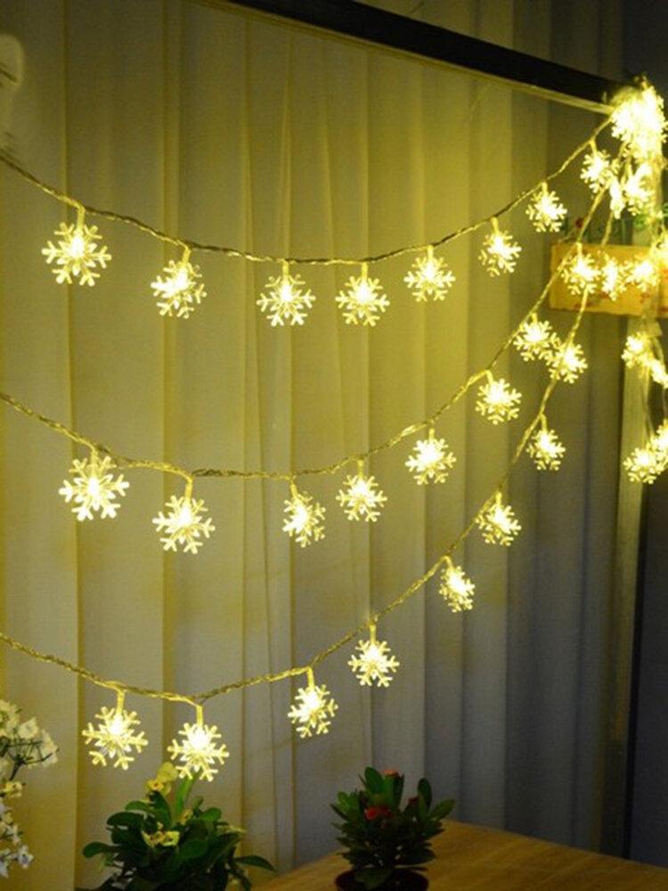 Decorazioni natalizie Snowflake impermeabile LED Flash Lights String Festival Decorazioni di nozze
