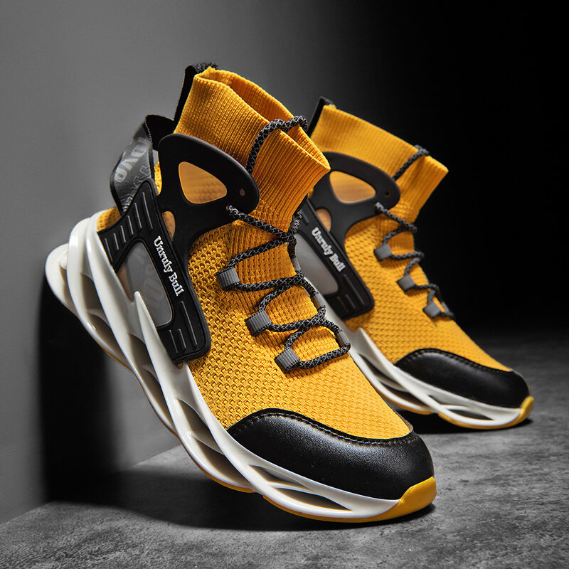 Men Running Stylish Fabric Comfy Breathable Shock Absorption Sock Casual Sneakers