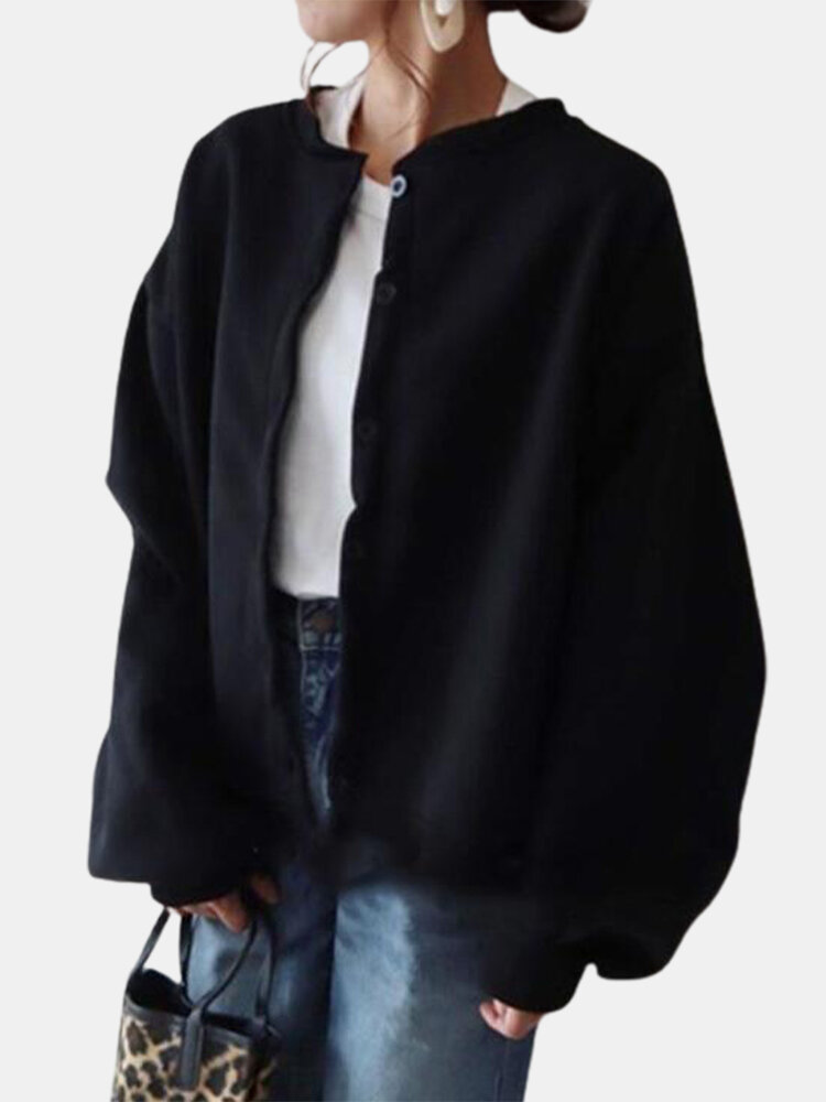 Solid Color O-neck Lantern Sleeve Plus Size Thin Coat with Button