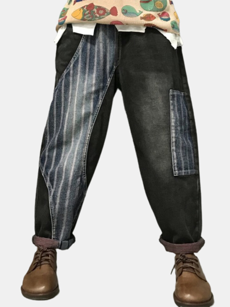 Striped Print Patchwork Elastic Waist Denim Pants With Pockets For Women