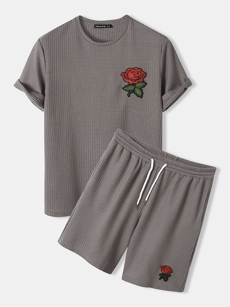 Mens Basic Knitted Rose Embroidery Patch Short Sleeve Casual Two Piece Outfits Cozy Loungewear