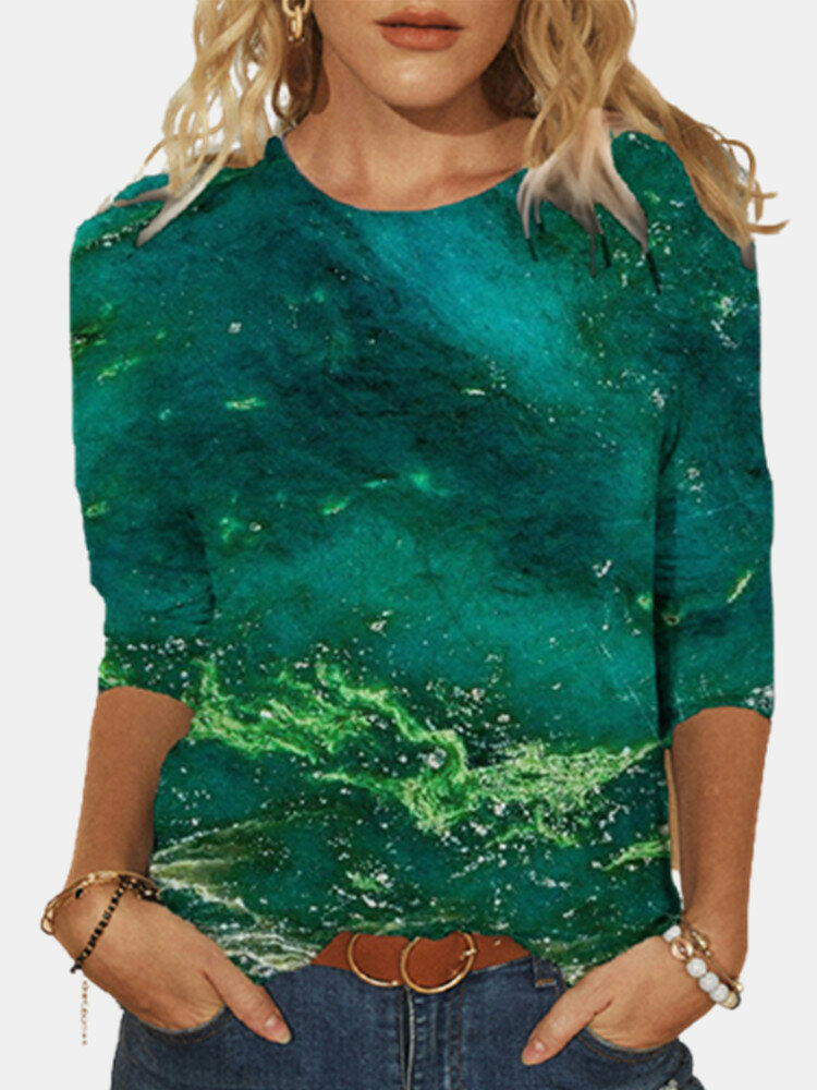 Print O-neck Long Sleeve Plus Size Casual Cotton for Women