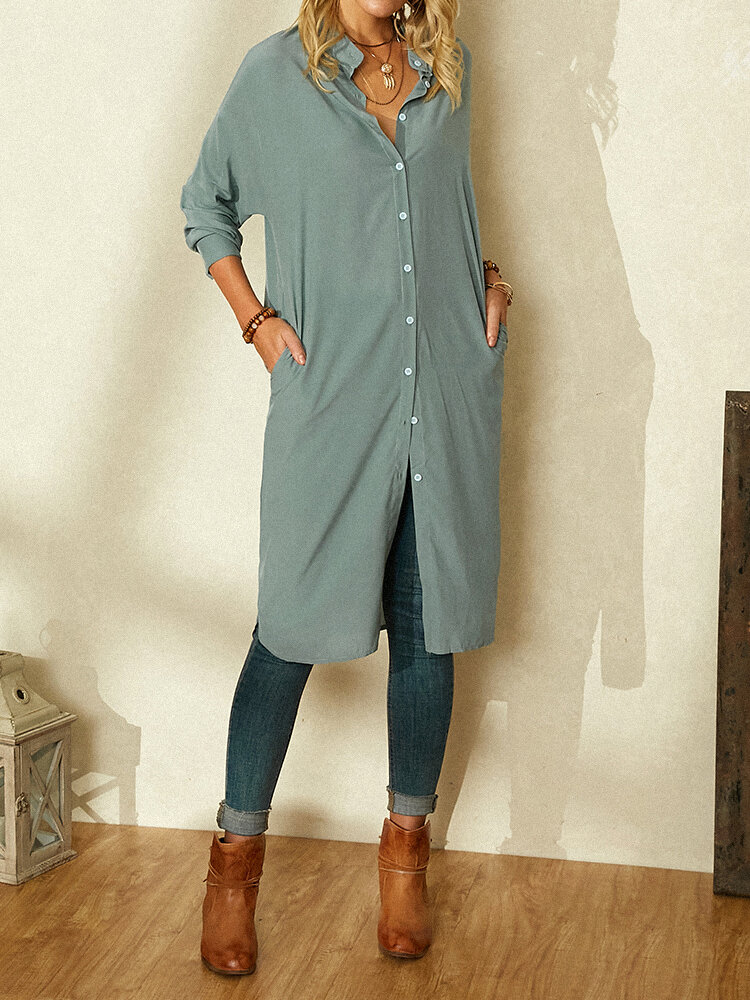 Solid Color Long Sleeve Splited Casual Dress For Women
