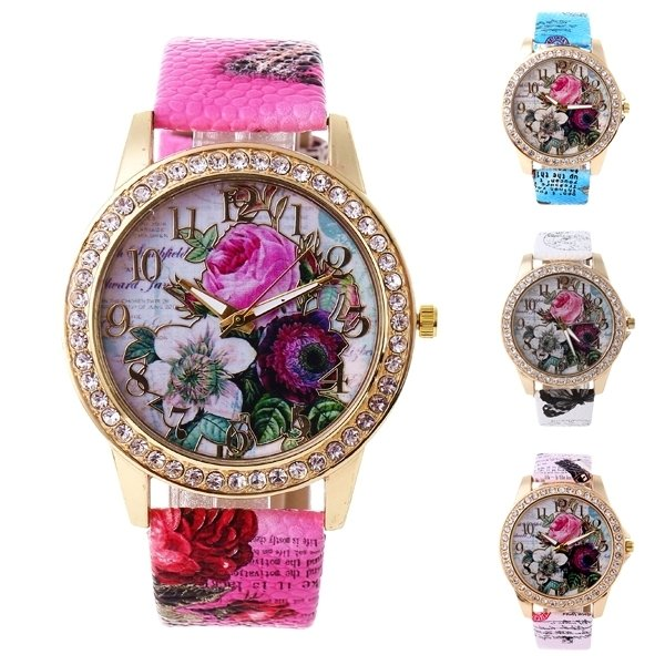 Full Rhinestone Flower Leather Watch Lady Casual Floral Quartz Wristwatch Gift for Her