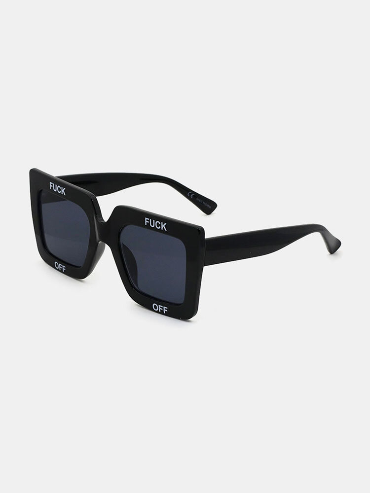 Unisex Casual Full Thick Frame Square Shape Letter Printing UV Protection Sunglasses