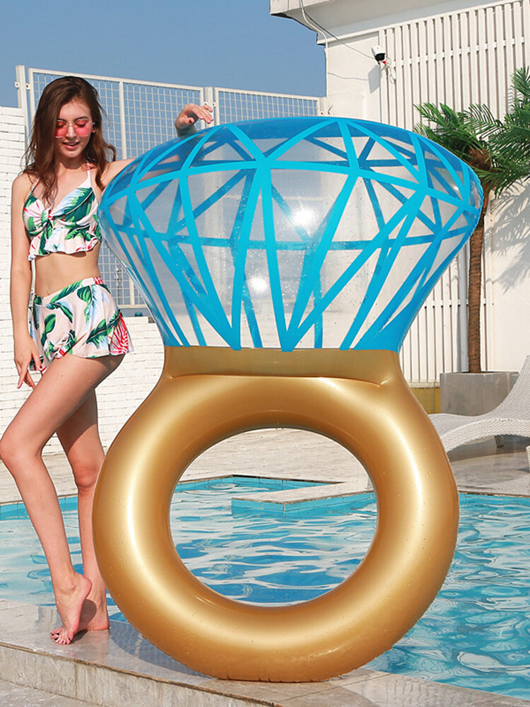 Shiny Diamond Ring Swim Ring Inflatable Float Hawaii Adult Kid Pool Toy Summer Beach Party Decor Float Mattress Gift