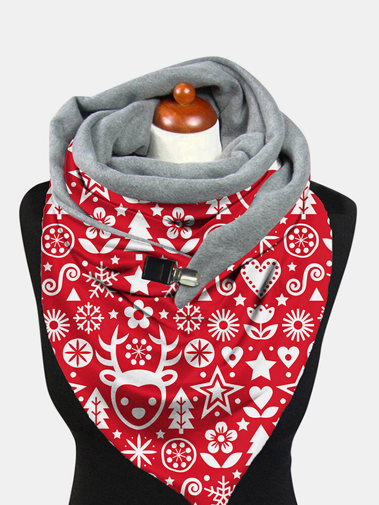 Women Lightweight Elegant Festive Christmas Pattern Printed Thickened Warm Scarf Shawl