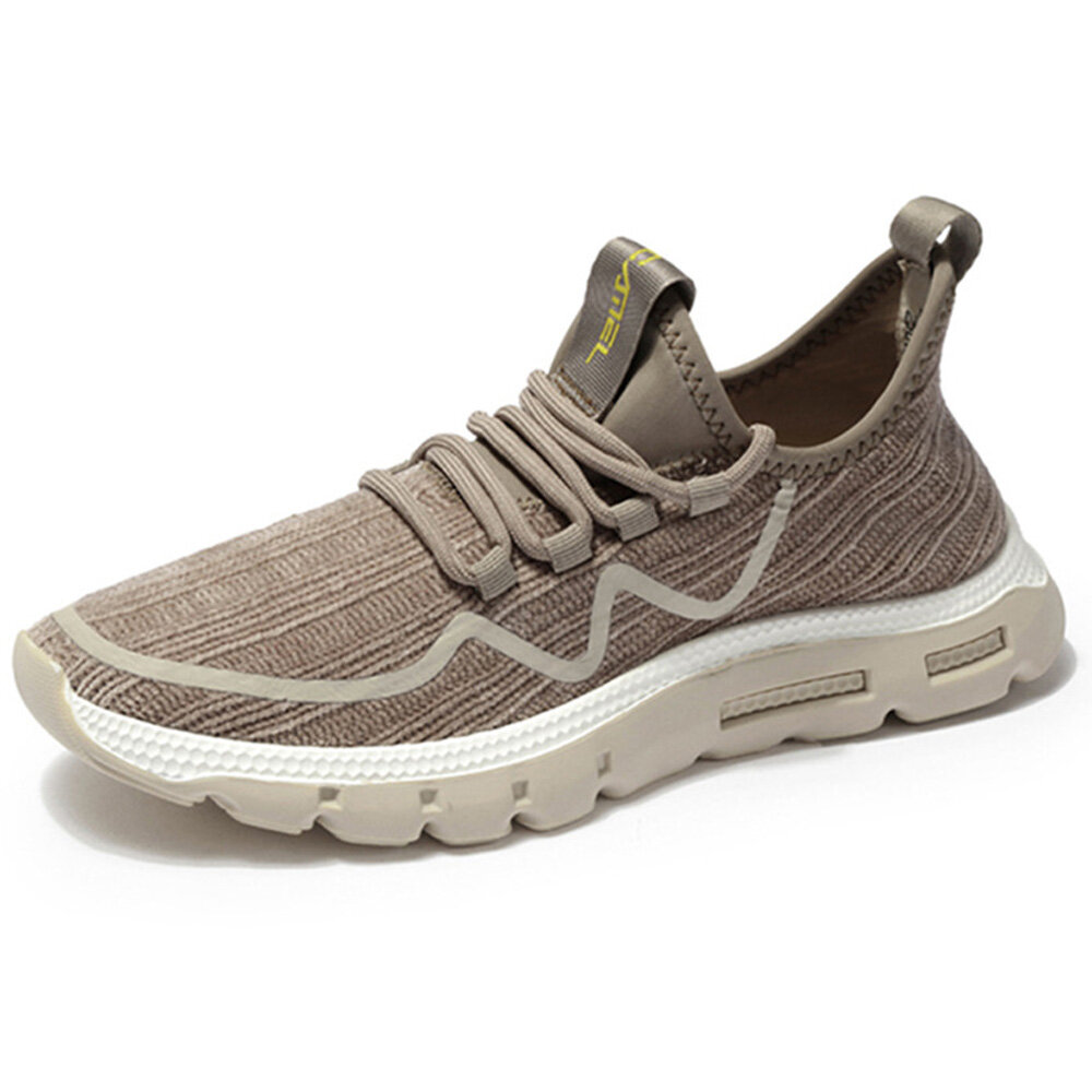 CAMEL CROWN Men Stylish Breathable Knitted Fabric Non Slip Athletic Sneakers