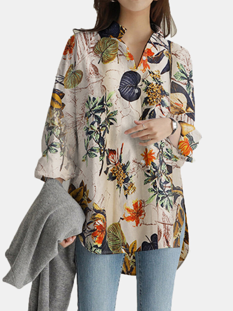 Vintage Flower Print Long Sleeves Casual Loose Blouse With Pockets