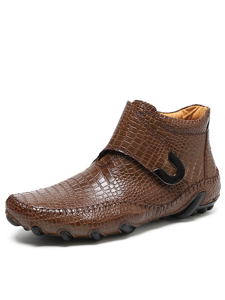 Men Handmade Stitching Crocodile Embossed Cowhide Leather Ankle Boots