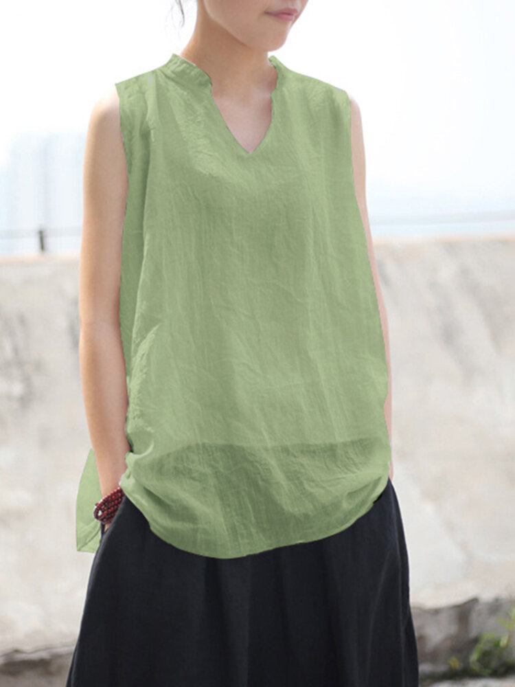 Casual Solid Color Sleeveless Plus Size Tank Top