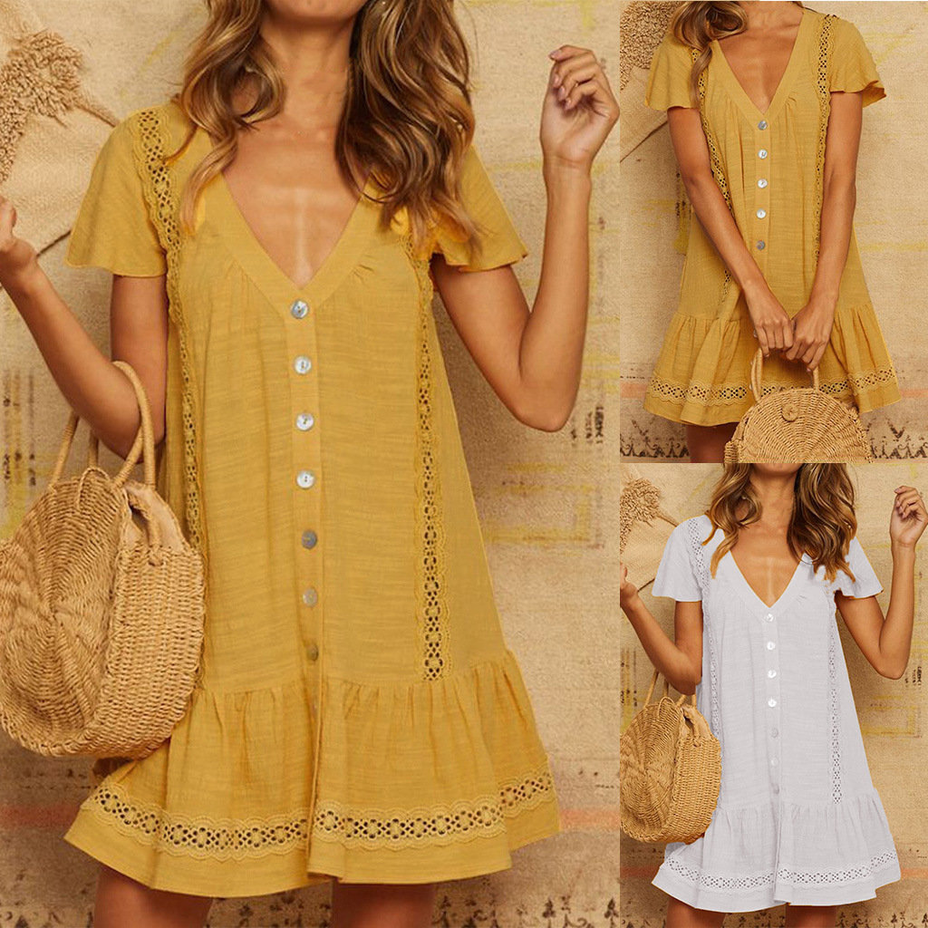 Solid Color Lace V-neck Button Hollow Stitching Short-sleeved Dress