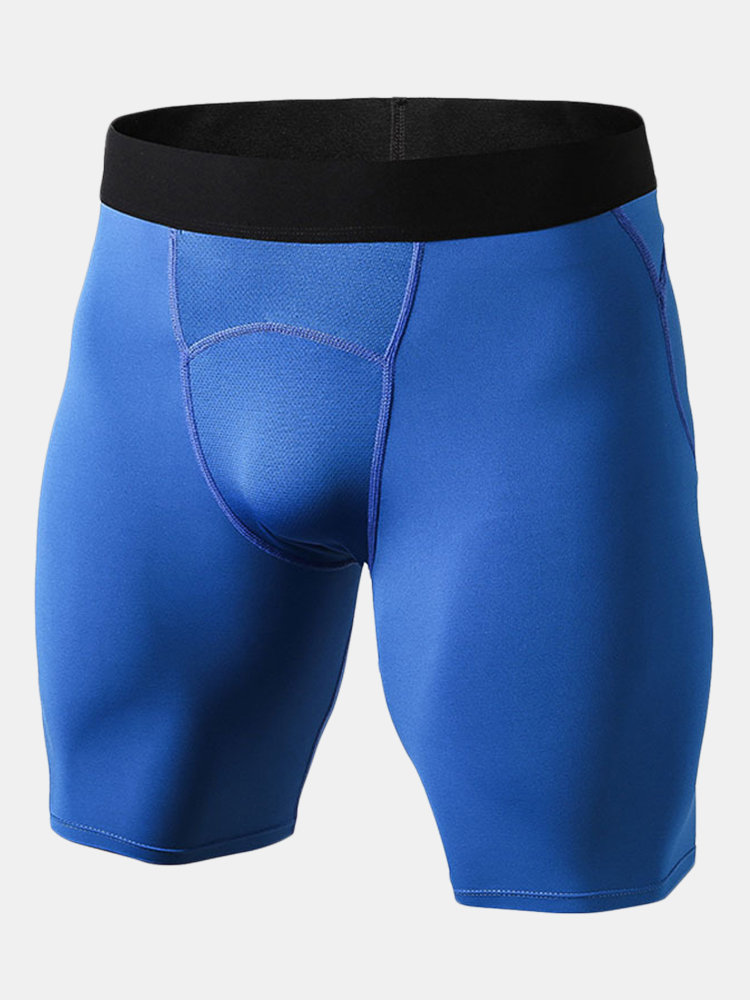 Sport Fitness High Elastic Mesh Crotch Breathable Long Boxers for Men