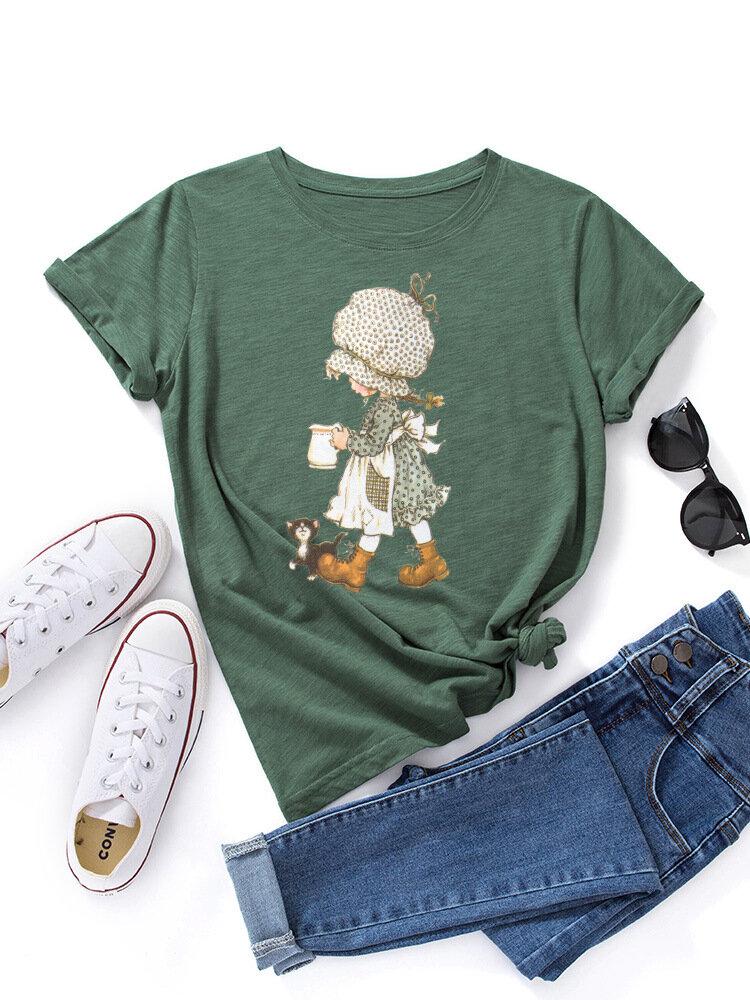 女性のための犬のプリントOネック半袖Tシャツと漫画の女の子