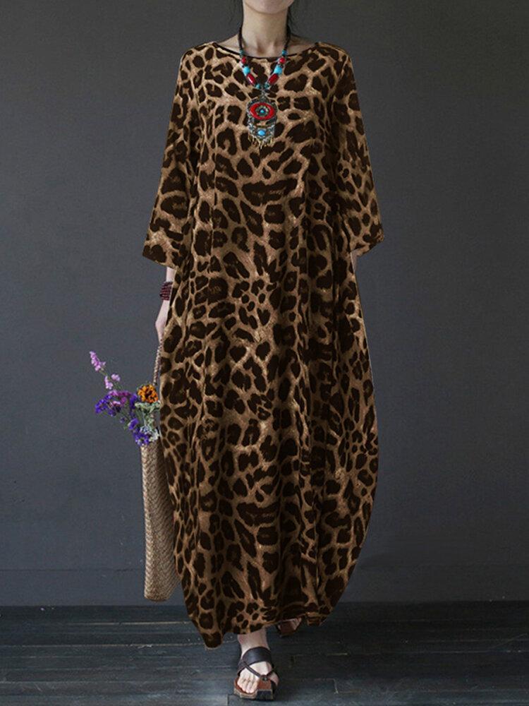 Leopard Print Patchwork Long Sleeve Plus Size Maxi Dress