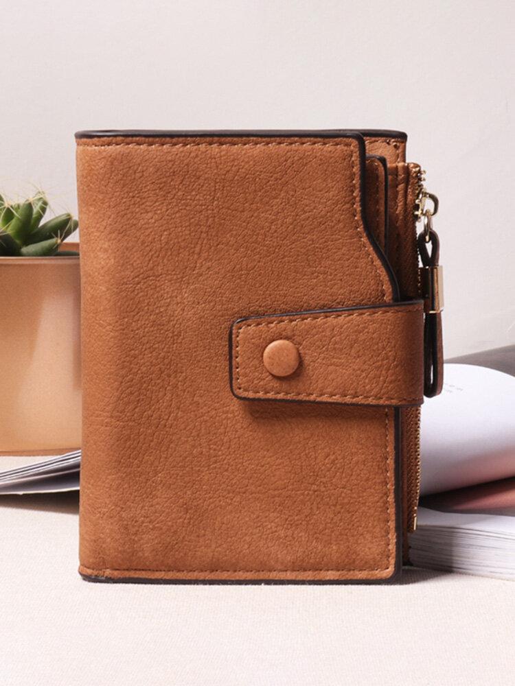 Women Hasp Wallet Long Scrub Wallet 7 Card Holder PU Leather Women Clutch Coin Purse