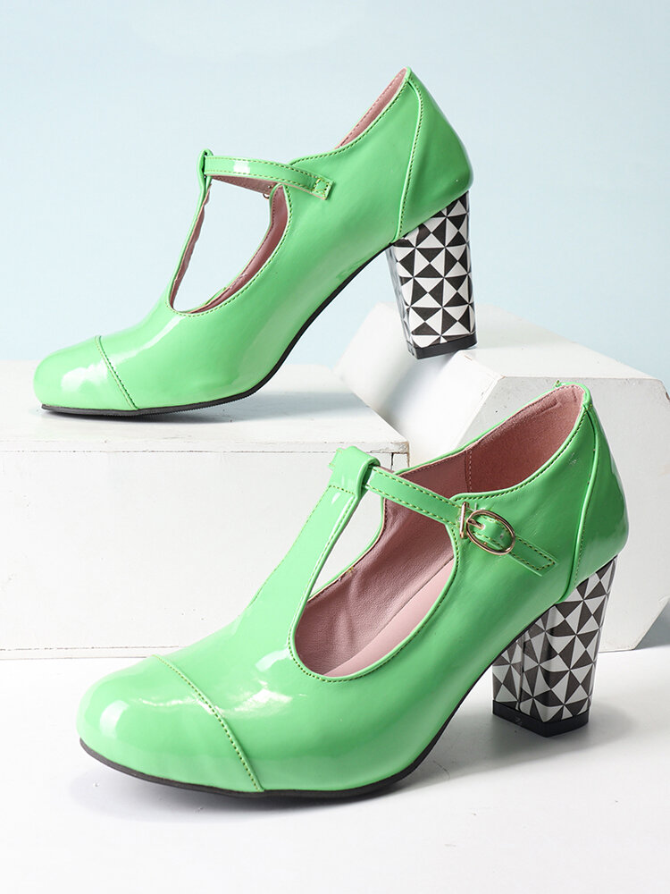 Women Solid Color T-Strap Geometric Graphic Chunky Heel Pumps