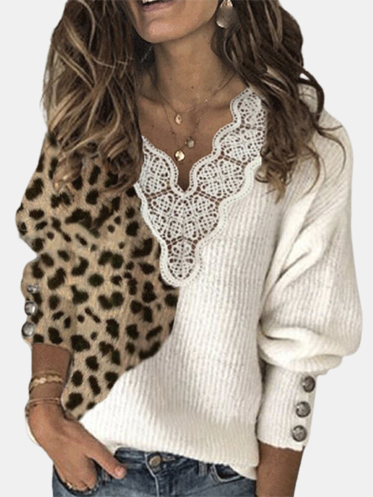 Leopard Patchwork Lantern Sleeves Plus Size Casual Sweater With Button