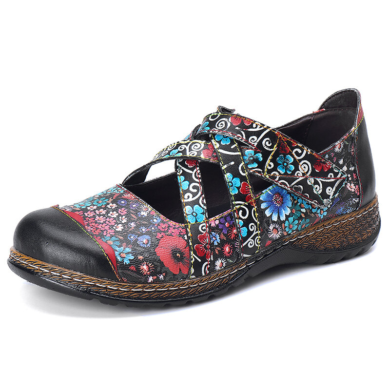Floral Handmade Leather Adjustable Strappy Stitching Flats Shoes