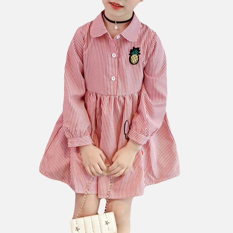 Striped Turn Down Collar Girls Long Sleeve Casual Dress For 2-9Y