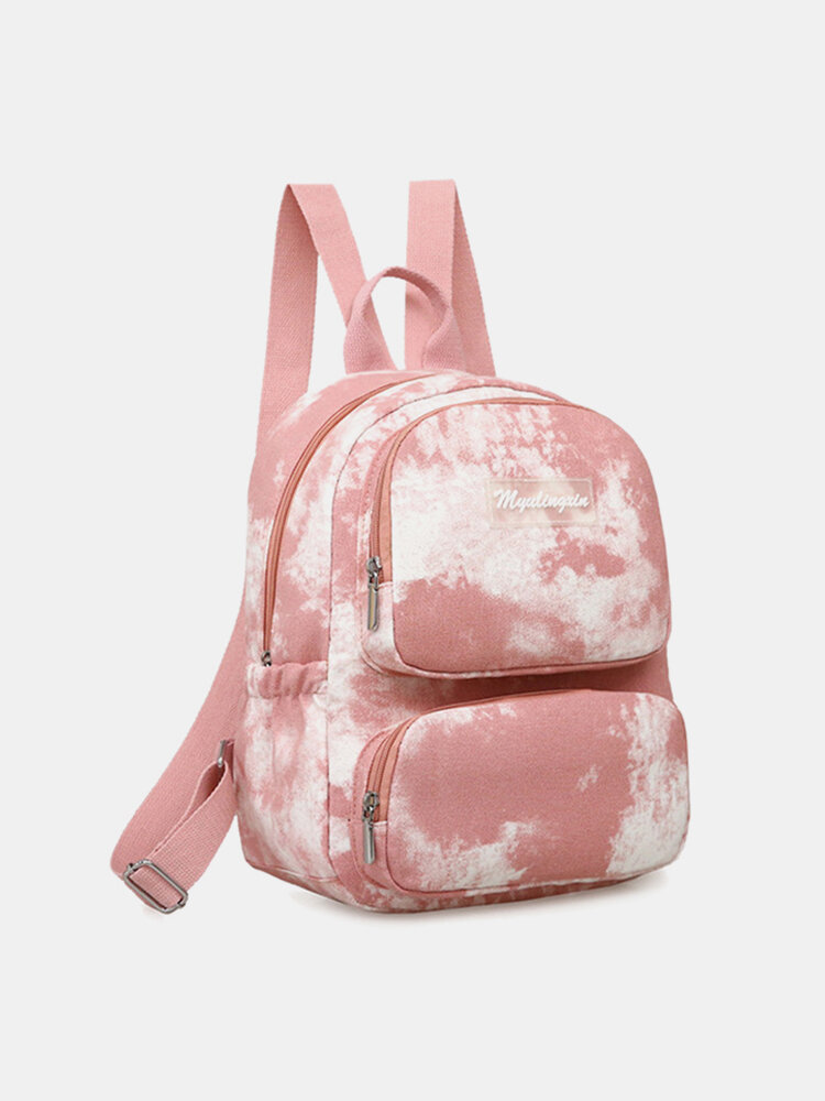 Women Oxford Anti theft Large Capacity Tie Dye Backpack Travel Bag