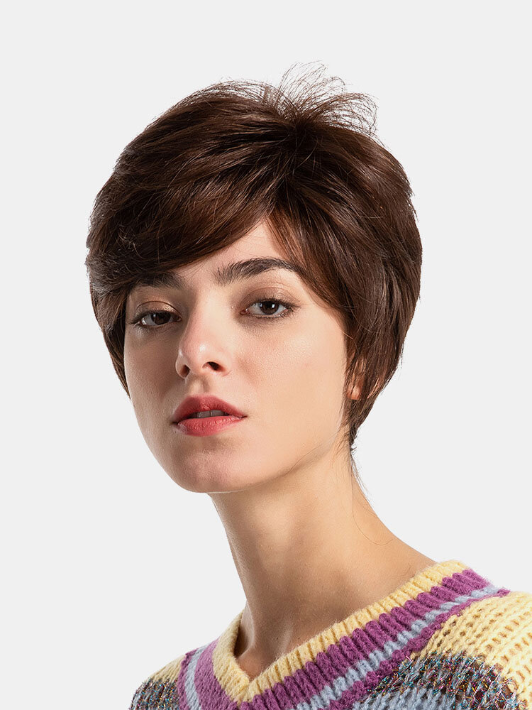 8 Inch Human Hair Short Wigs Fashion Real Human Hair Mixed Straight Hair Wigs Hair Style For Women