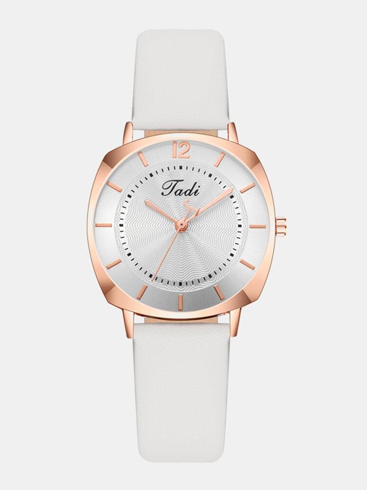 Trendy Elegant Women Wristwatch Rose Gold Alloy Case Leather Band Quartz Watches