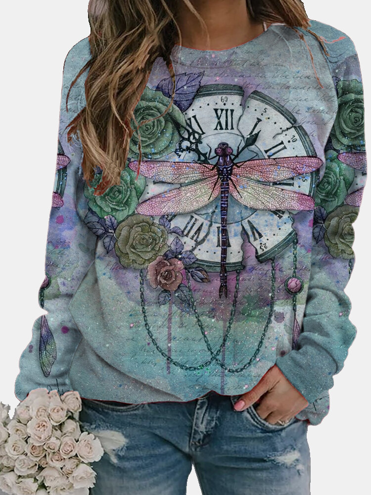Vintage Dragonfly Printed Long Sleeve O-neck T-shirt For Women