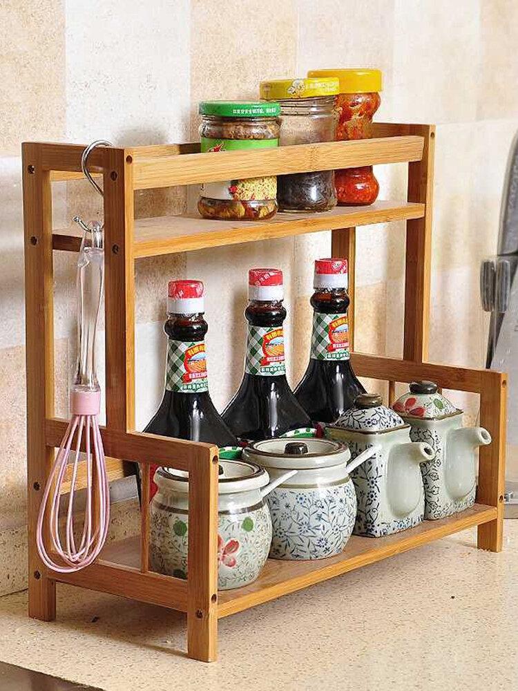 <US Instock> Multifunctional Kitchen Rack Seasoning Rack Solid Wood Bamboo Storage Rack Storage Rack