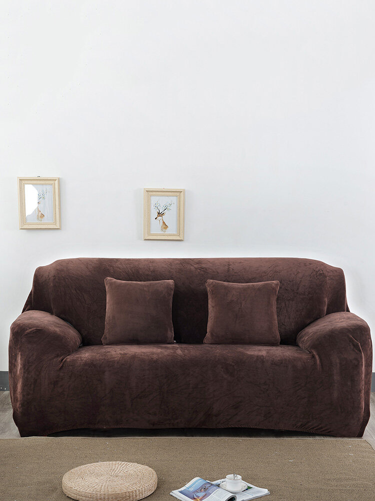 Solid Color Plush Thicken Elastic Sofa Cover Universal Sectional Slipcover 1/2/3 seater Stretch Couch Cover
