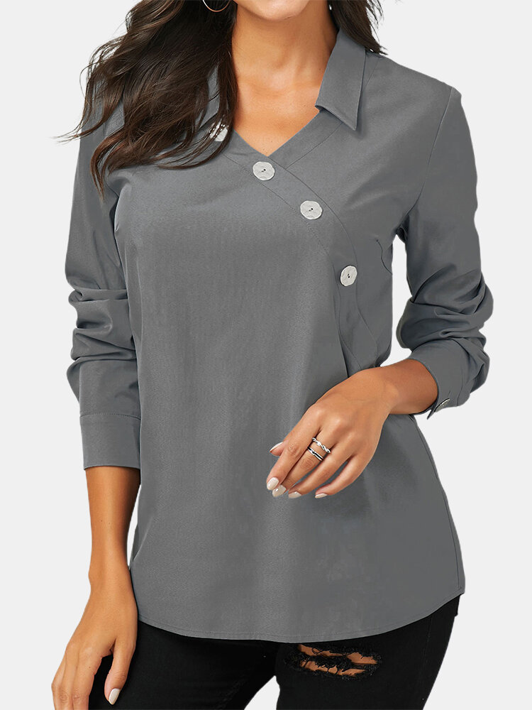 Button Solid Color Long Sleeve Lapel Casual Blouse For Women
