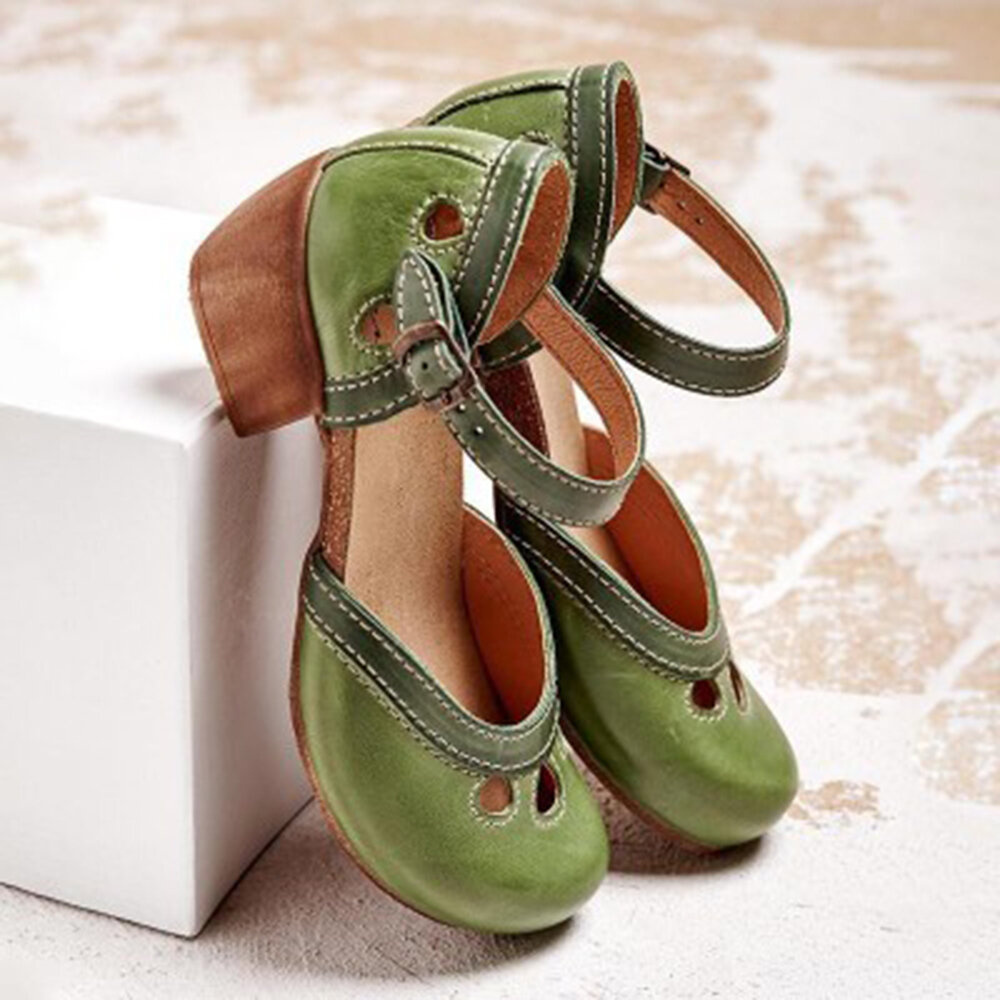 Women Vintage Hollow Buckle Strap Chunky Heel Clogs D'Orsay Pumps