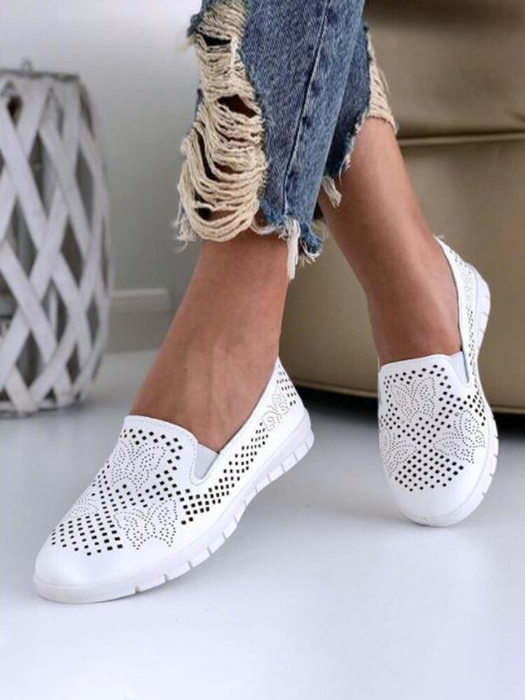 Large Size Daily Breathable Hollow Butterfly White Flat Loafers For Women