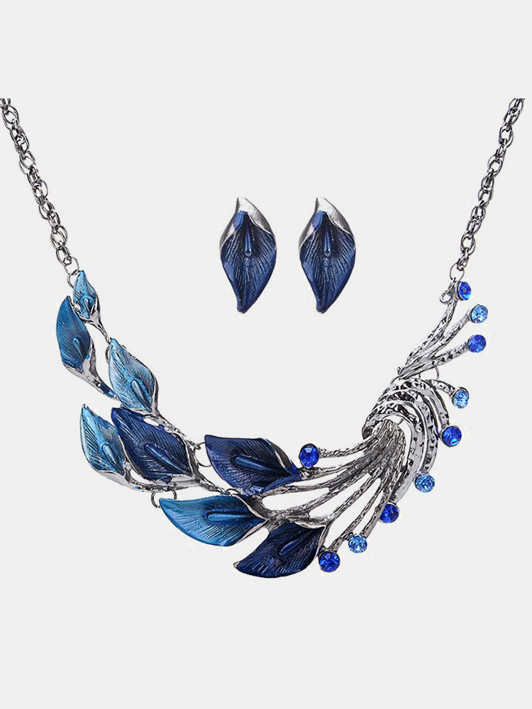 Vintage Pendant Jewelry Set Sea Taro Flower Peacock Tail Pendant Chain Necklace Earrings for Women