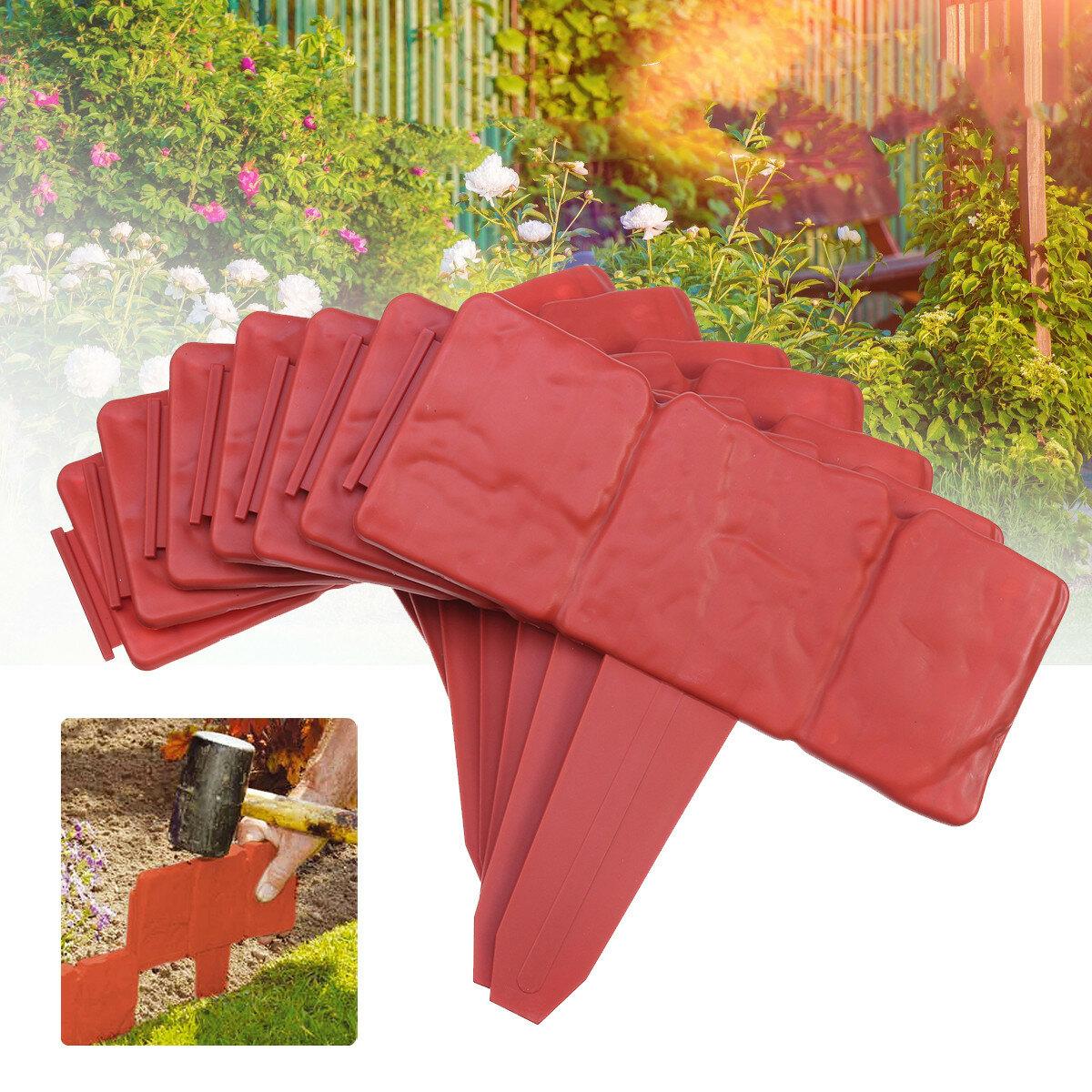 <US Instock>20 Pcs/set Red Garden Fence Plastic Cobbled Stone Effect Garden Border Edging Plant Border Flowerbed Lawn Decor